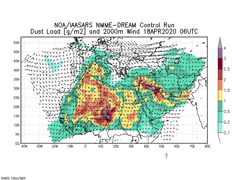 Dust load [g/m2] and 2000m Wind - 2020-04-18 06:00