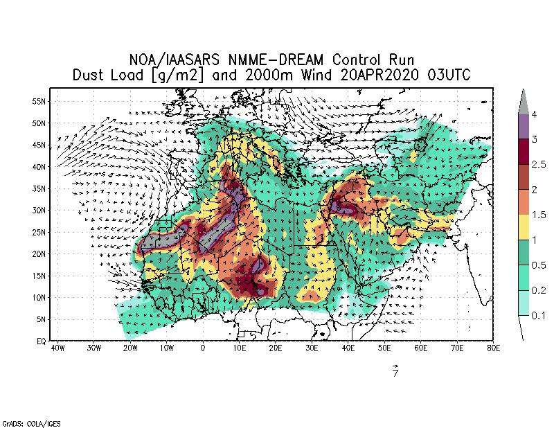 Dust load [g/m2] and 2000m Wind - 2020-04-20 03:00