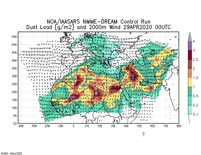 Dust load [g/m2] and 2000m Wind - 2020-04-29 00:00