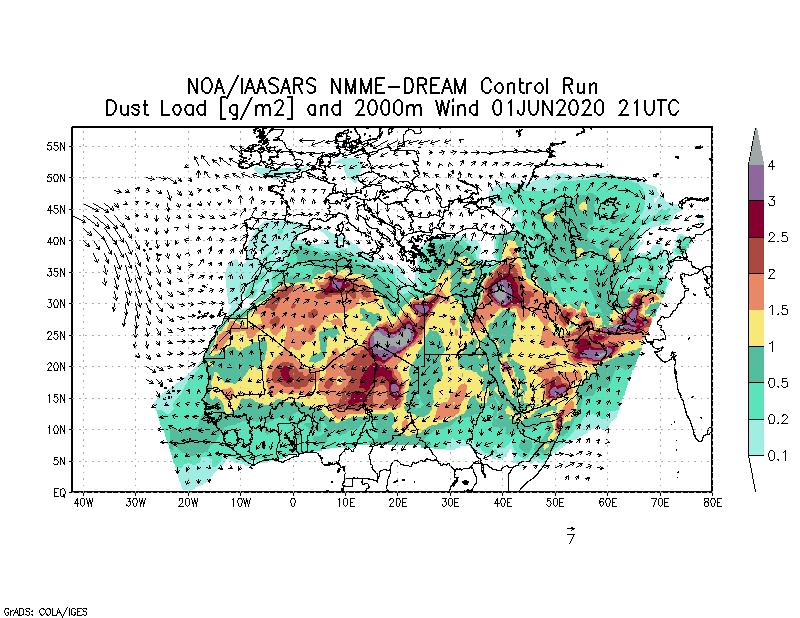 Dust load [g/m2] and 2000m Wind - 2020-06-01 21:00
