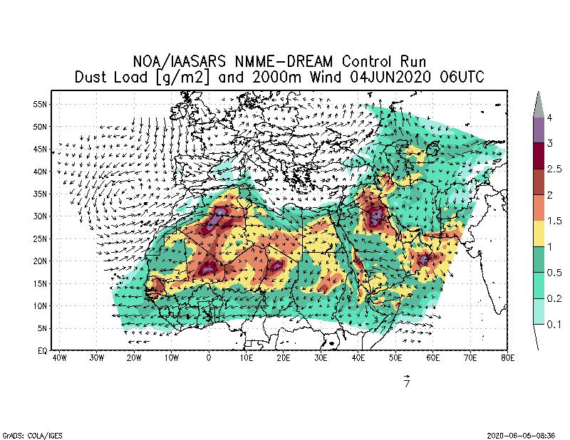 Dust load [g/m2] and 2000m Wind - 2020-06-04 06:00