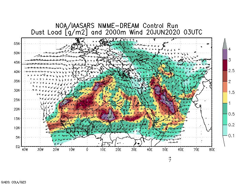 Dust load [g/m2] and 2000m Wind - 2020-06-20 03:00