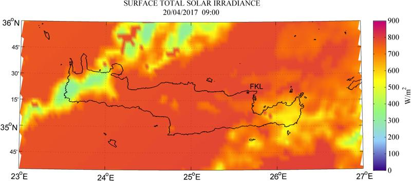 Surface total solar irradiance - 2017-04-20 09:00