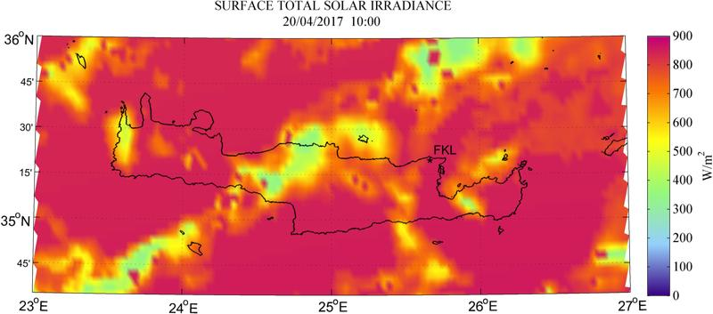 Surface total solar irradiance - 2017-04-20 10:00
