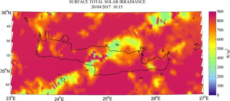 Surface total solar irradiance - 2017-04-20 10:15