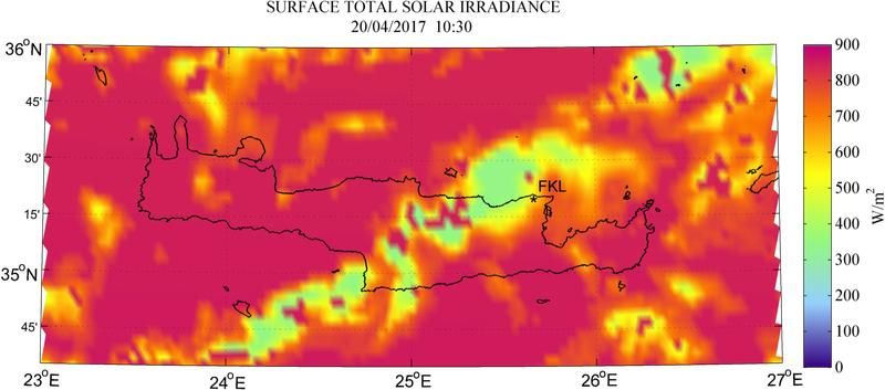 Surface total solar irradiance - 2017-04-20 10:30