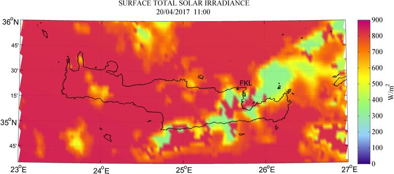 Surface total solar irradiance - 2017-04-20 11:00