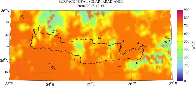 Surface total solar irradiance - 2017-04-20 12:15