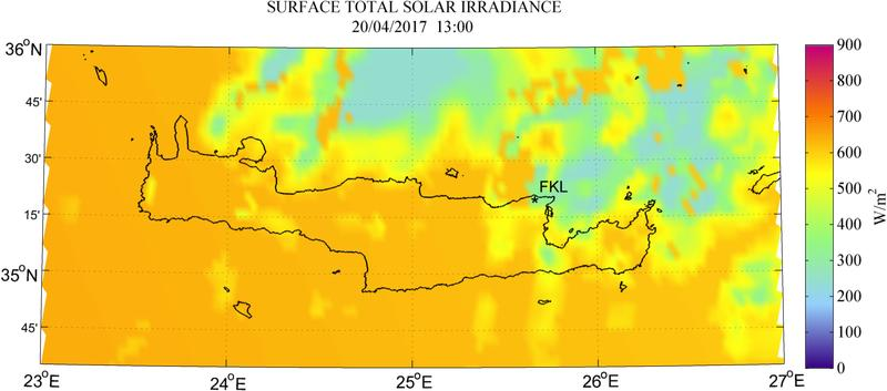 Surface total solar irradiance - 2017-04-20 13:00