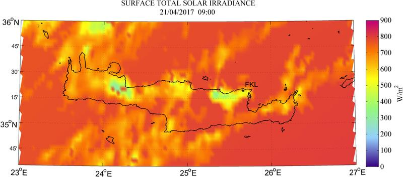 Surface total solar irradiance - 2017-04-21 09:00