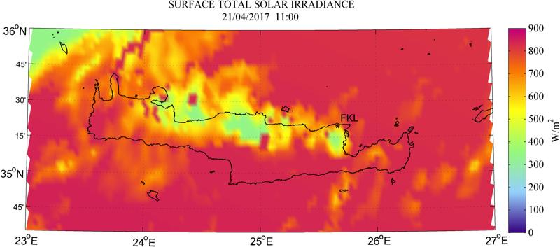 Surface total solar irradiance - 2017-04-21 11:00
