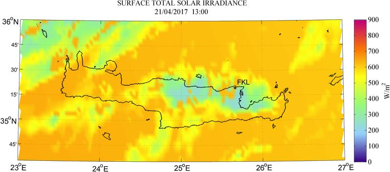 Surface total solar irradiance - 2017-04-21 13:00