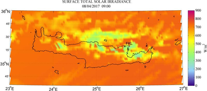 Surface total solar irradiance - 2017-04-08 09:00