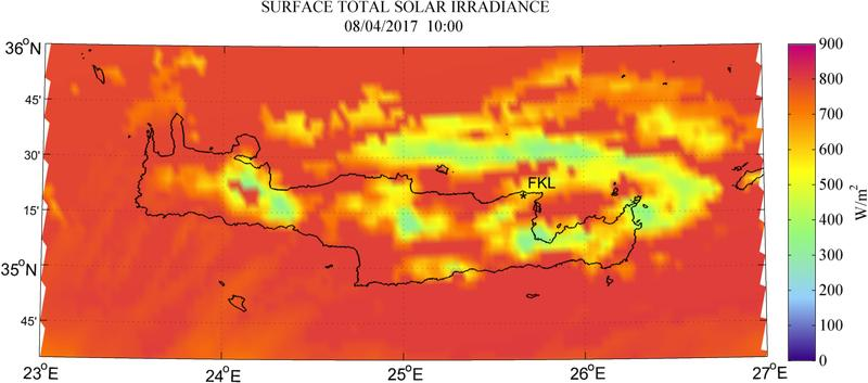 Surface total solar irradiance - 2017-04-08 10:00