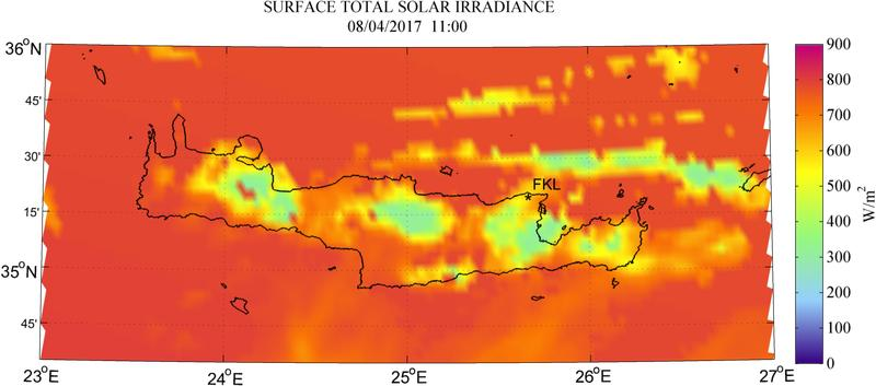 Surface total solar irradiance - 2017-04-08 11:00