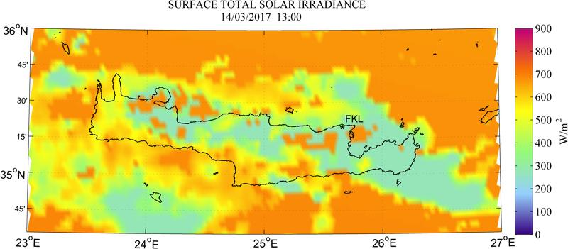 Surface total solar irradiance - 2017-03-14 11:00