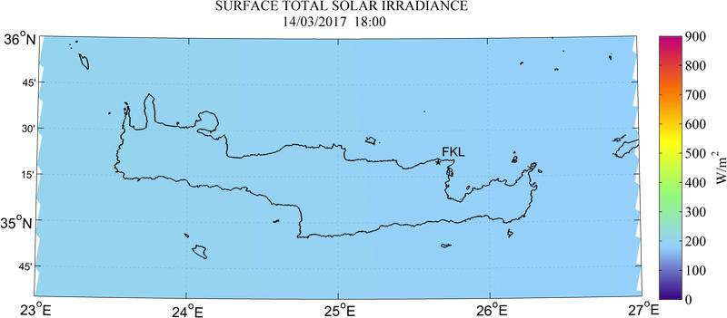 Surface total solar irradiance - 2017-03-14 16:00