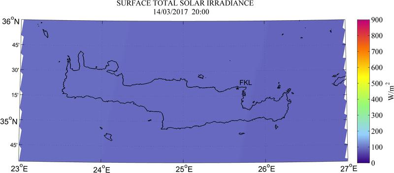 Surface total solar irradiance - 2017-03-14 18:00