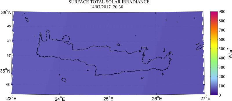Surface total solar irradiance - 2017-03-14 18:30