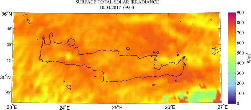 Surface total solar irradiance - 2017-04-10 09:00