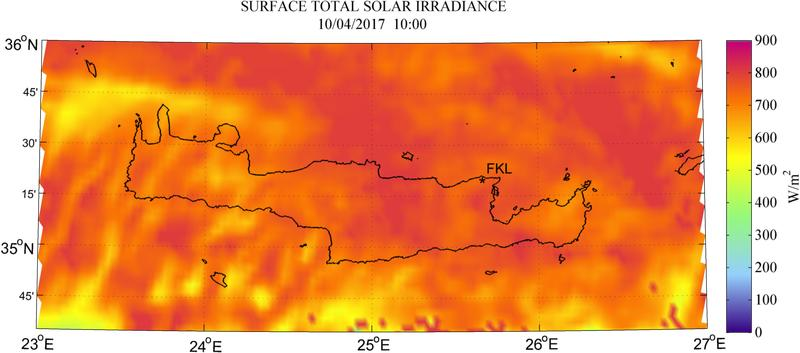 Surface total solar irradiance - 2017-04-10 10:00