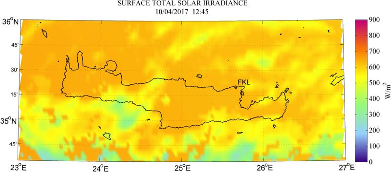 Surface total solar irradiance - 2017-04-10 12:45