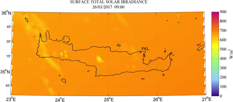 Surface total solar irradiance - 2017-03-26 09:00