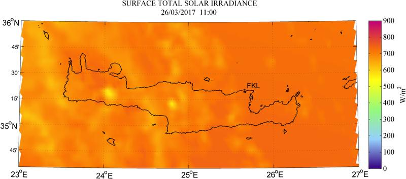 Surface total solar irradiance - 2017-03-26 11:00
