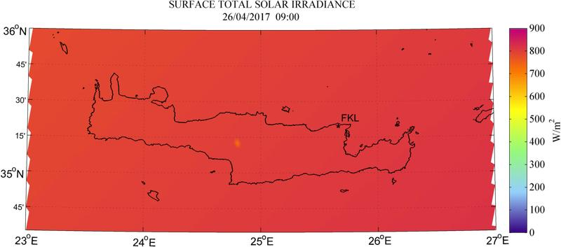 Surface total solar irradiance - 2017-04-26 09:00