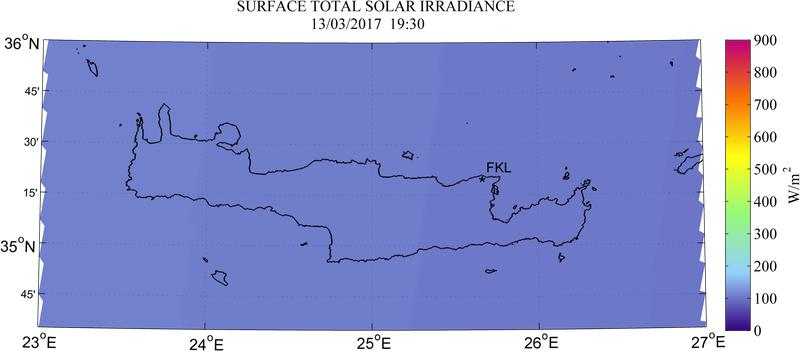 Surface total solar irradiance - 2017-03-13 17:30