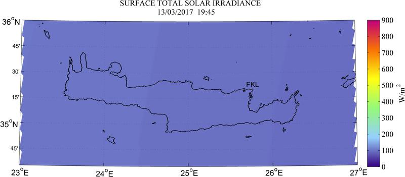 Surface total solar irradiance - 2017-03-13 17:45