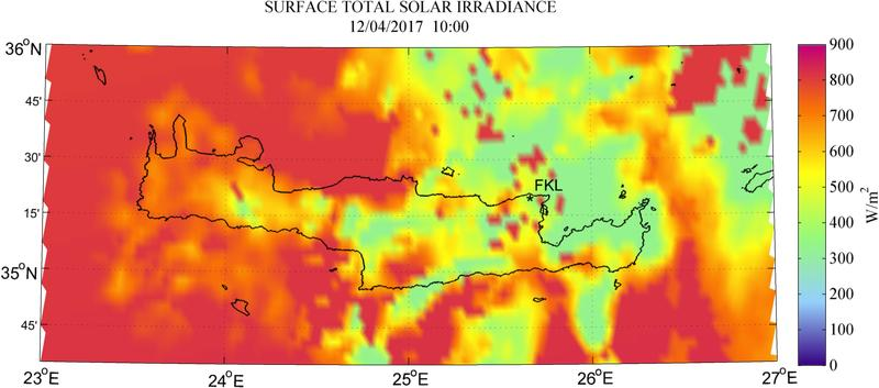 Surface total solar irradiance - 2017-04-12 10:00