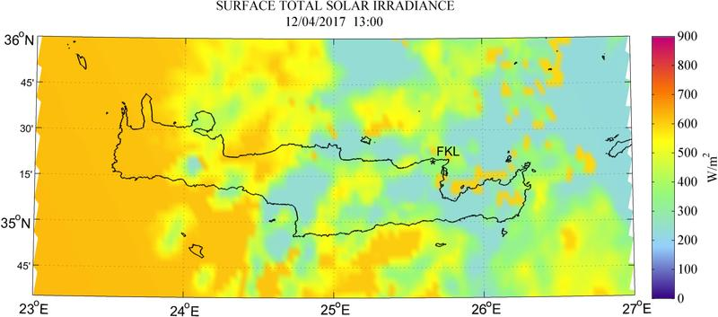 Surface total solar irradiance - 2017-04-12 13:00