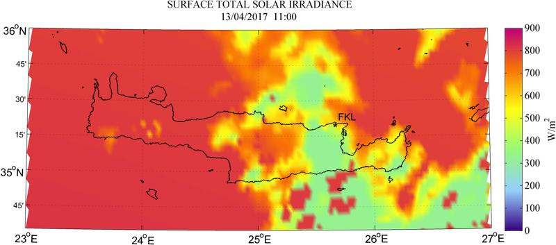 Surface total solar irradiance - 2017-04-13 11:00
