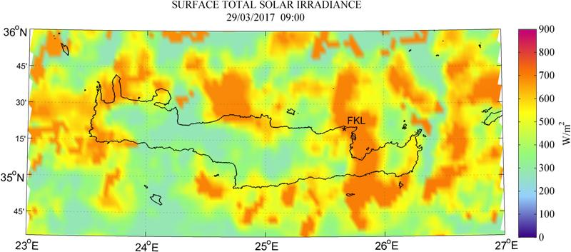 Surface total solar irradiance - 2017-03-29 09:00