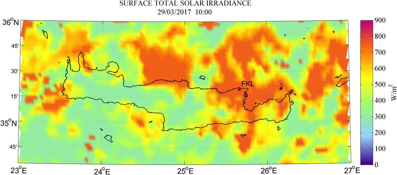 Surface total solar irradiance - 2017-03-29 10:00