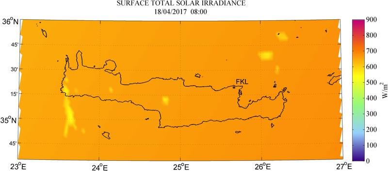 Surface total solar irradiance - 2017-04-18 08:00