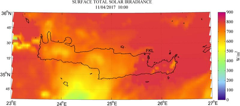 Surface total solar irradiance - 2017-04-11 10:00