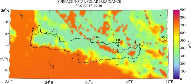 Surface total solar irradiance - 2017-03-30 09:30