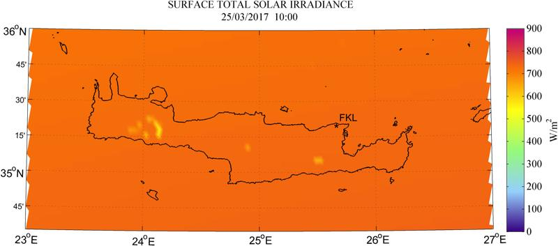Surface total solar irradiance - 2017-03-25 10:00