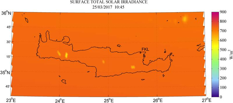 Surface total solar irradiance - 2017-03-25 10:45
