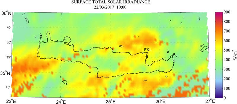 Surface total solar irradiance - 2017-03-22 10:00