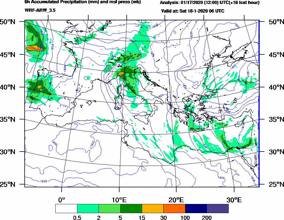 6h Accumulated Precipitation (mm) and msl press (mb) - 2020-01-18 00:00