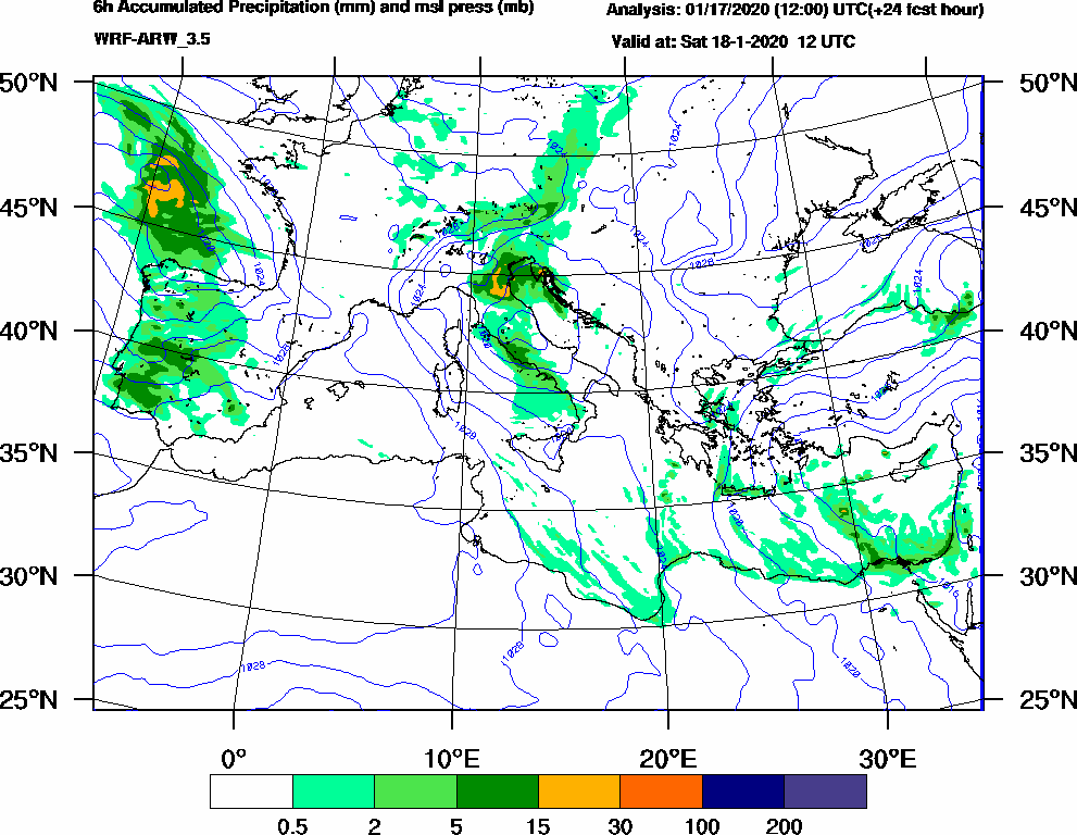 6h Accumulated Precipitation (mm) and msl press (mb) - 2020-01-18 06:00