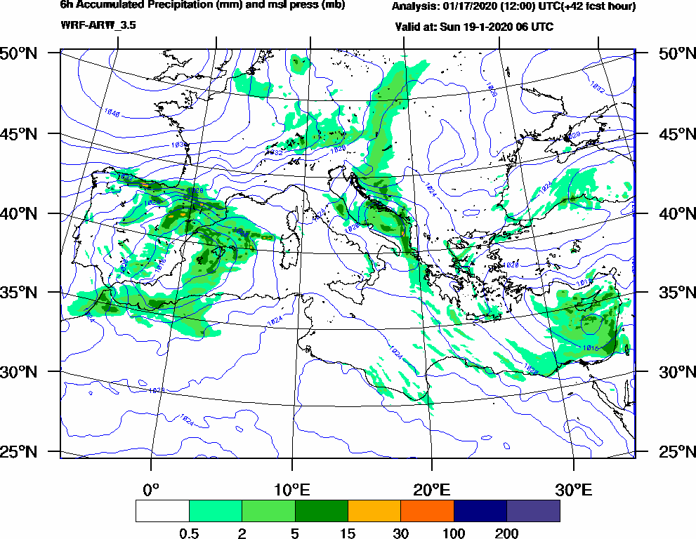 6h Accumulated Precipitation (mm) and msl press (mb) - 2020-01-19 00:00