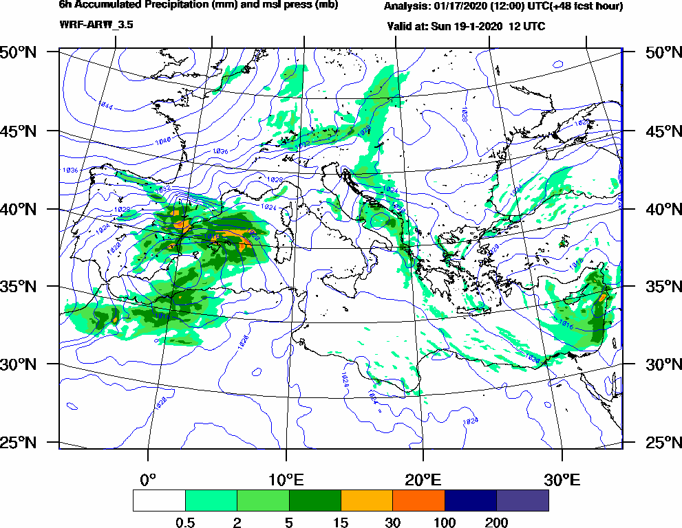 6h Accumulated Precipitation (mm) and msl press (mb) - 2020-01-19 06:00