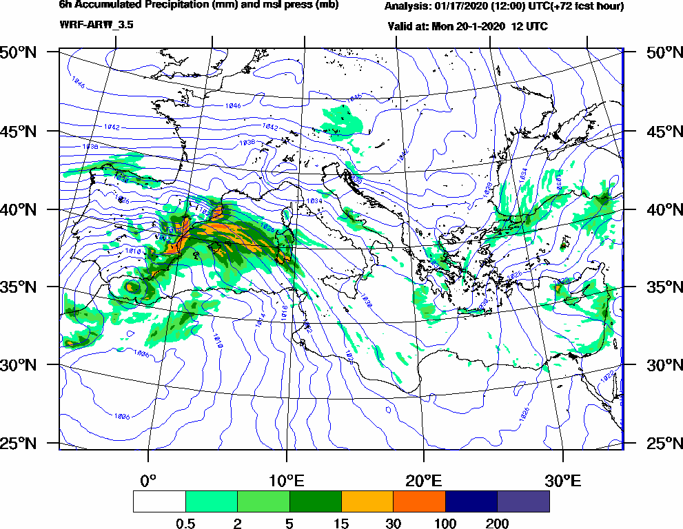 6h Accumulated Precipitation (mm) and msl press (mb) - 2020-01-20 06:00