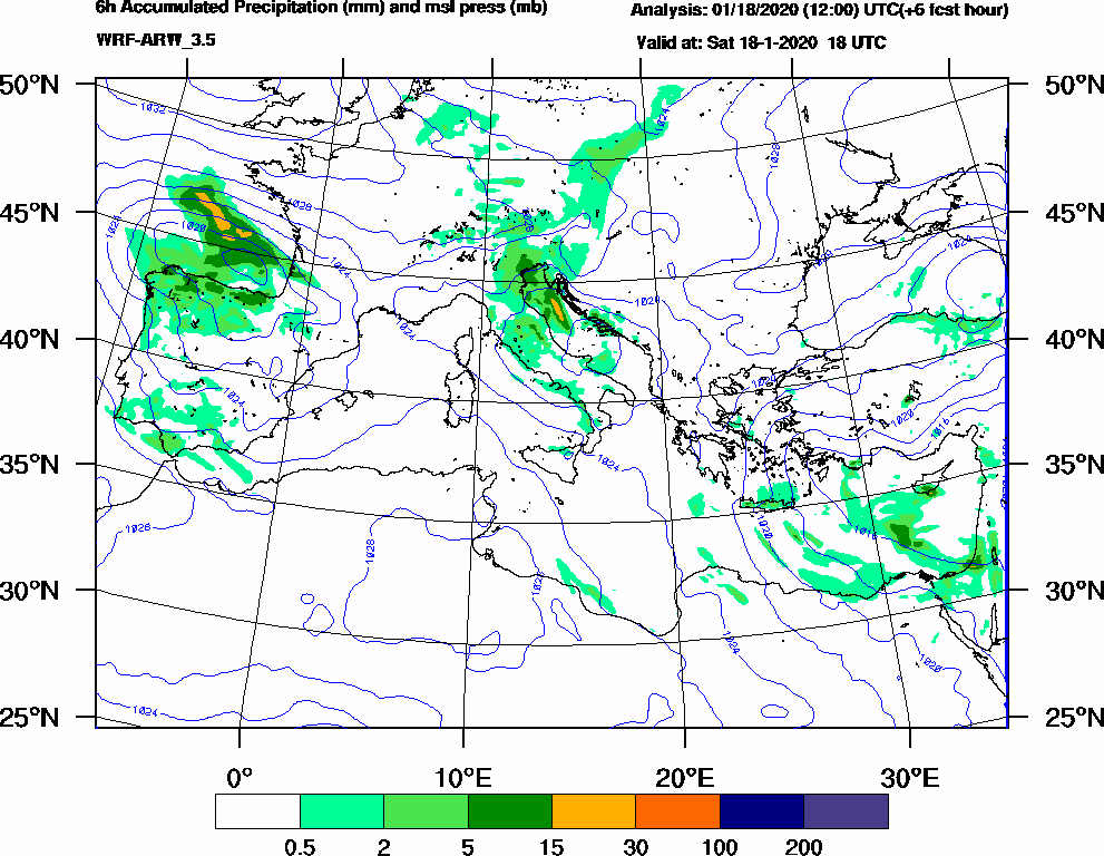 6h Accumulated Precipitation (mm) and msl press (mb) - 2020-01-18 12:00