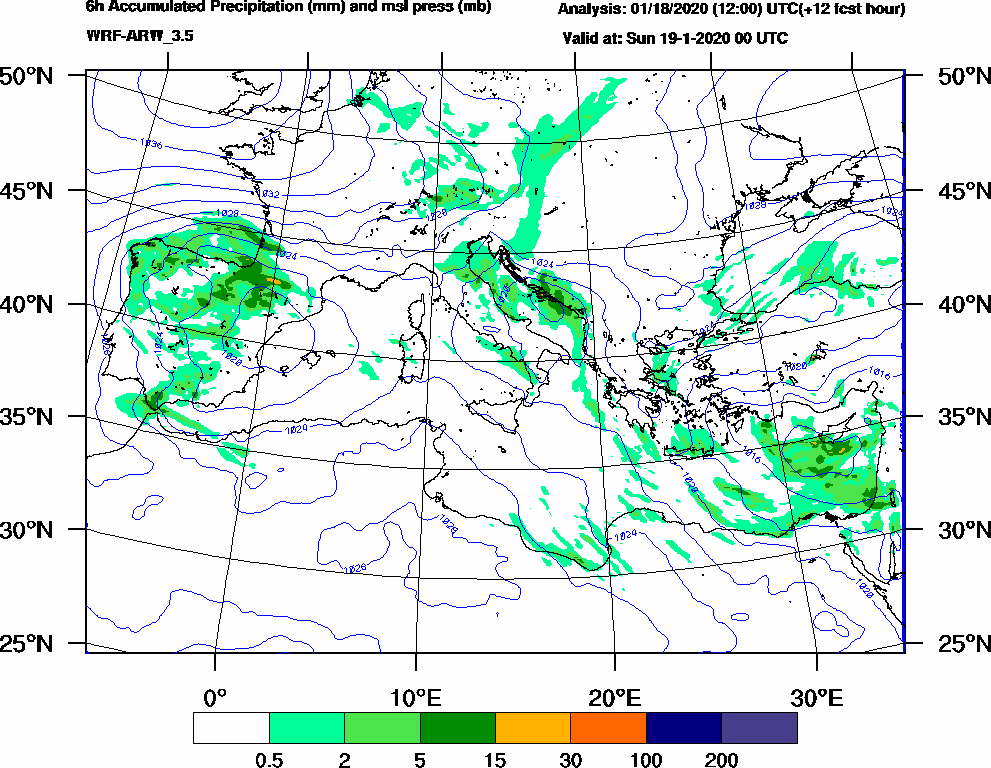 6h Accumulated Precipitation (mm) and msl press (mb) - 2020-01-18 18:00