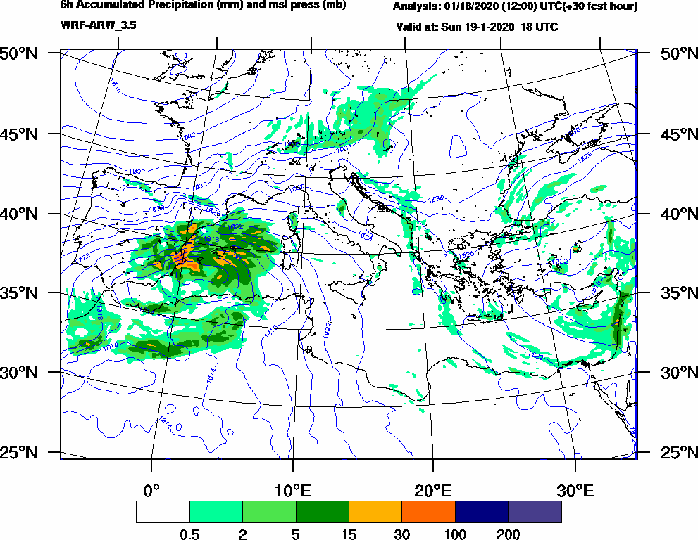 6h Accumulated Precipitation (mm) and msl press (mb) - 2020-01-19 12:00